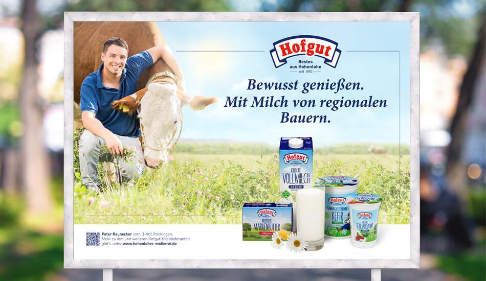 Großplakat der Kampagne für die Hohenloher Molkerei