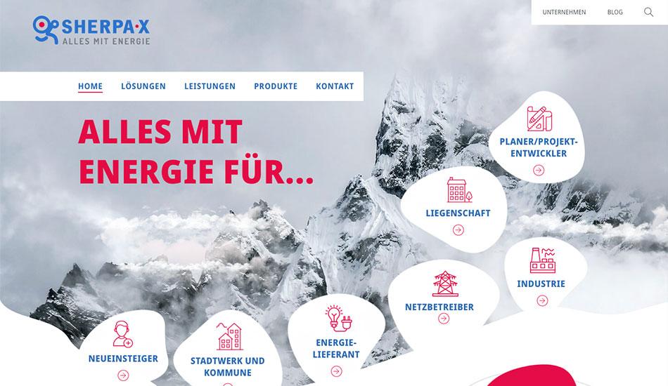 Screenshot der Startseite von SHERPA-X zeigt die Anlehnung des Designs an die Bergwelt