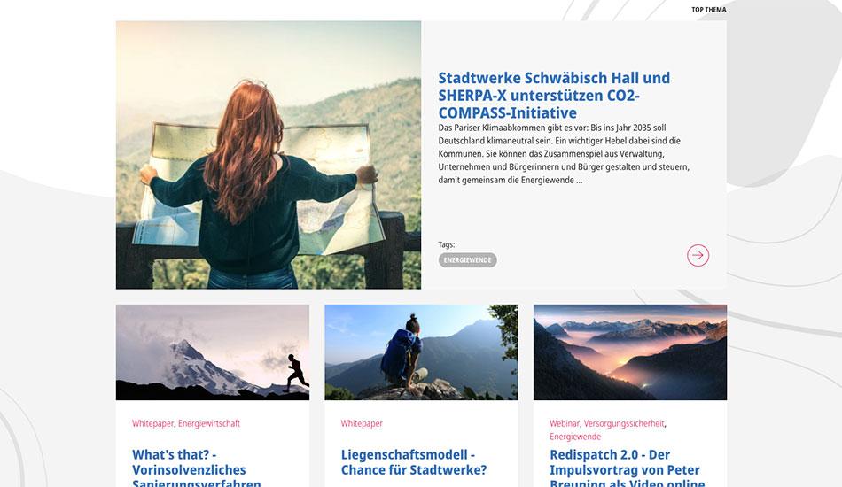 Screenshot zeigt, wie die Bildwelt der Berge integriert wurde