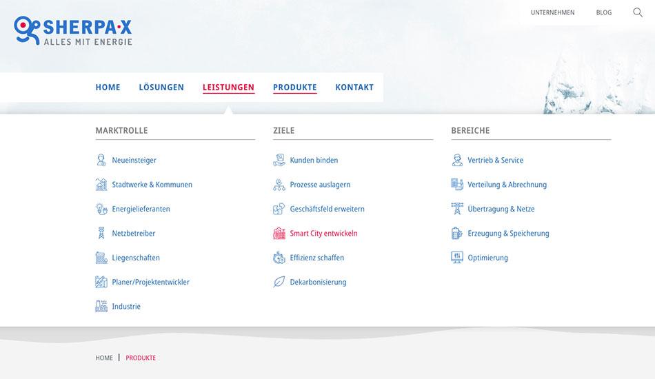 Ein Screenshot zeigt das klar gegliederte Mega-Menü