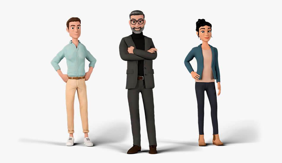 Die 3D-Charaktere der Kampagnenidee